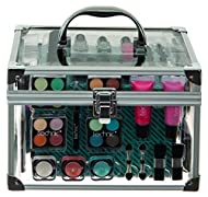 Clear Cosmetic Carry Case Keepsake carrycase Travel compact with mirror Includes everything you need for your eyes, lips, face and tools. Gift idea