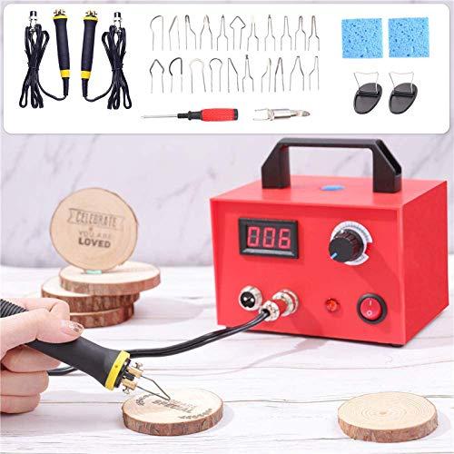 HUKOER 23 piezas Máquina de Pirograbado Kit de Herramientas de Artesanía en Madera 100W Ajustable Pluma Doble con Pantalla Digital