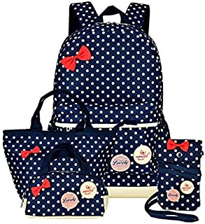 Girls Backpacks and Lunch Bag for School Book Bag and Handbag Purse Polka Dots (4Pcs Navy)