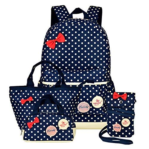 Girls Backpacks and Lunch Bag for School Book Bag and Handbag Purse Polka Dots (4Pcs Navy)