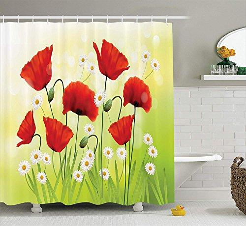 XZLWW Cortina de Ducha Ambiente primaveral con Amapola y Margaritas en la Hierba florece Naturaleza ilustración baño 120x180CM A
