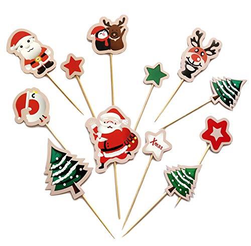 YONIK ケーキトッパー クリスマス カップケーキトッパー クリスマスピック 45枚 フルーツピック 楊枝 かわいい ケーキデコレーション ケーキピック クリスマス飾り 果物/お菓子/お弁当用 パーティグッズ