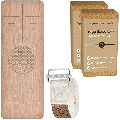 beneyu ® Rutschfestes Yoga Starter-Set aus Naturkork und Baumwolle - Made in Germany und Portugal