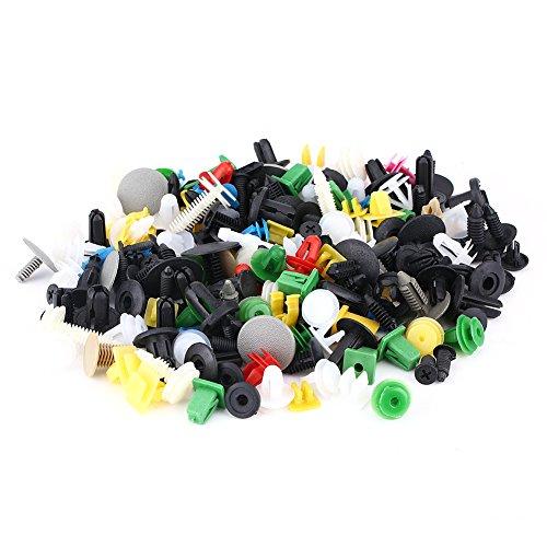 EVGATSAUTO 100pcs 7.5mm Hole Dia Universal Plastic Car Door Trim Push Pin Rivets Fastener Black