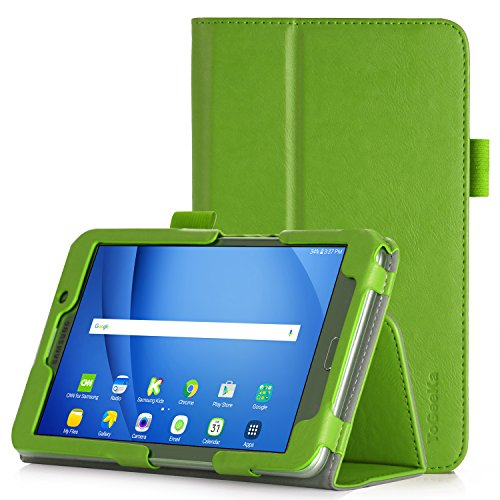 iHarbort Samsung Galaxy Tab A 7.0 Case, PU Leather Stand Cover Case Holder Compatible Galaxy Tab A 7.0 inch SM-T280 T285 with auto Sleep/Wake Function, Hand Strap and Card Slot, Green