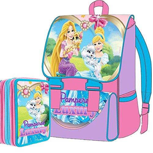 Disney Kit Scuola School Pack Zaino Estensibile + Astuccio 3 Zip Principesse Palace Luxury Edizione Nuova