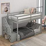 Low Twin Over Twin Bunk Bed for Kids Teens Wood Twin Bunk Bed Frame...