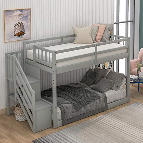Twin Over Twin Floor bunk Bed, Ladder with Storage (Twin Over Twin, Gray)