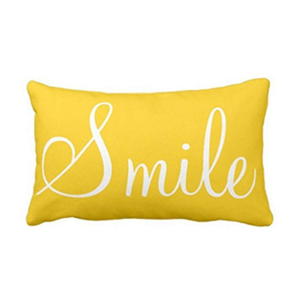 Zyyuk✚ Soft Decorative Square Throw Pillow Case Cushion Covers Pillowcases for Livingroom Sofa Bedroom with Invisible Zipper 30 X 50cm——Yellow
