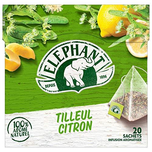 Elephant - Infusion Tilleul Citron 20 Sachets, 100% Arôme Naturel - 28g