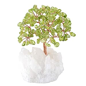 Green Peridot Crystal Tree, Quartz Cluster Tree Gemstone Crystals Bonsai Money Tree for Wealth and Luck, by MASGEMES