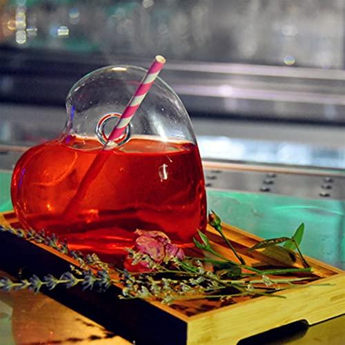 DFGDFG Creativo corazón Forma cóctel Vaso pequeña Capacidad Transparente Molecular Modelado Vidrio fantasía Vino Taza Barra de Bebida (Capacity : 290ml, Color : Heart Single Glass)