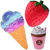 Desire Deluxe Slow Rising Squishies UK Jumbo Scented Squishy Squeeze Toy Stress Reliever Gift (Ice Cream + Cofee + Strawberry)