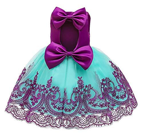 BAIDEFENG Vestido de Boda de Verano para nios, Vestido de Princesa, Falda con Bordado de Encaje, Falda con Lazo, Vestido de Flores para nias, Regalo de cumpleaos para nia-prpura_100cm