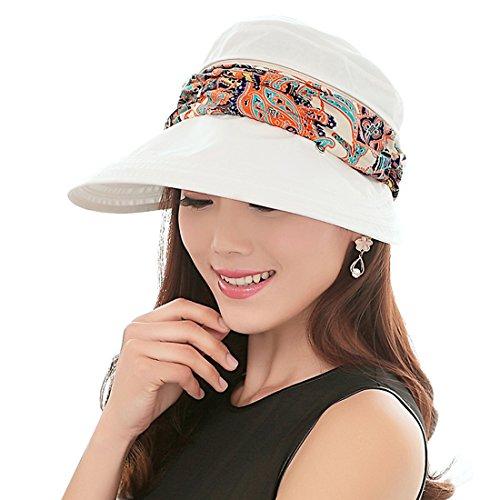 Witery - Cappello da sole estivo da donna Copertura per viso e collo, colore: beige Taglia unica