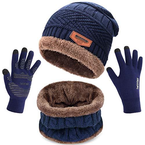 Petrunup Wintermütze Nackenwärmer und Handschuhe Set Slouch Beanie Snood Schal Touchscreen Handschuhe Herren Damen Dunkelblau