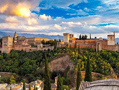 ZYYSYZSH Puzzles 1500 Piezas Adultos De Madera Rompecabezas Niños Educación Rompecabezas Juguetes DIY Rompecabezas,Alhambra, Granada