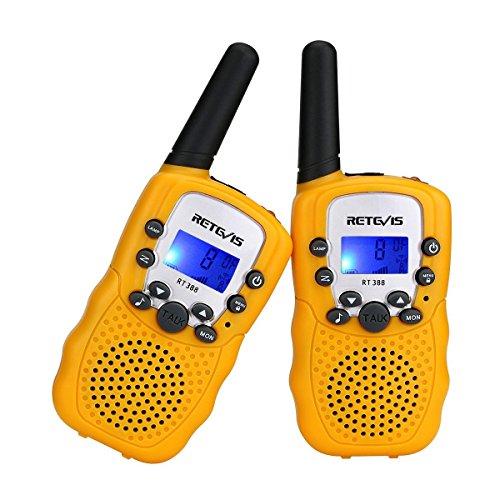 Retevis RT388 Walkie Talkie Niños PMR446 8 Canales LCD Pantalla Linterna Incorporado VOX 10 Tonos de Llamada Walkie Talkie Niñas Juguete Regalo para Niños (Amarillo, 1 Par)