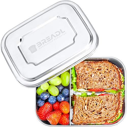 BREADL® Edelstahl Brotdose, Spülmaschinenfest, Plastikfrei, 17x13x6cm, 1000ml, BPA-frei, Trennwand und 2 Fächer, Lunchbox & Bento-Box für Kinder & Erwachsene