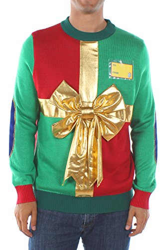 Tipsy Elves Ugly Christmas Sweaters for Men Red and Green Wrapping Paper Pullover with Gold Bow Size X-Large