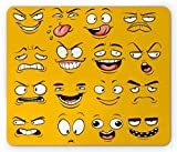 Ambesonne Emoji Mouse Pad, Smiley Surprised Sad Hot Happy Sarcastic Angry Mood Faces Expression Plain Backdrop Print, Standard Size Rectangle Non-Slip Rubber Mousepad, Yellow
