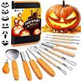 D-FantiX Halloween Pumpkin Carving Kit, 13 Pieces Professional Stainless Steel Pumpkin Carving Tools Kit with...