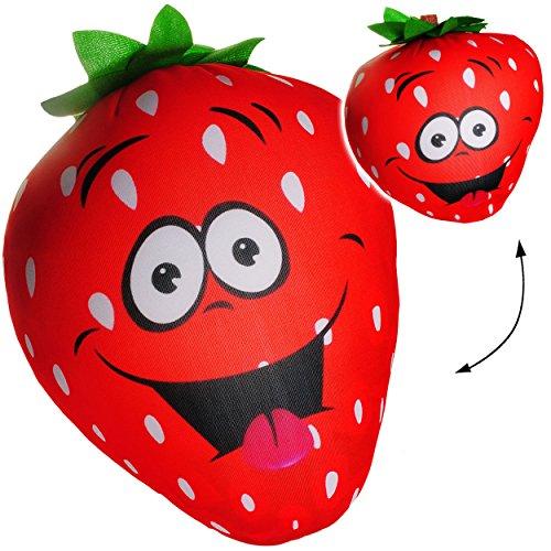 alles-meine.de GmbH großes Knautschkissen / Stoffball / Knautschball -  lustige Erdbeere mit lachendem Gesicht  - 34 cm - Spandex Softball mit Mikroperlen - Ball / Zenball - Pl..