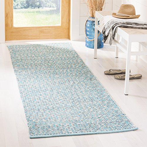 "Safavieh Montauk Collection MTK602E Handmade Flatweave Turquoise and Multi Cotton Runner (2'3"" x 7')"