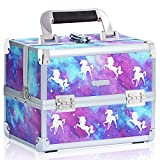 Joligrace Makeup Train Case Unicorn Style Cosmetic Organizer Box Lockable with Mirror
