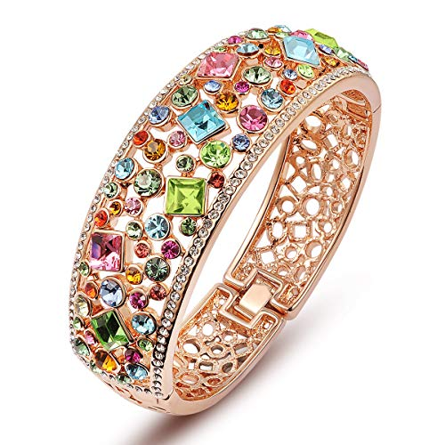 QIANSE Mother's Day Bracelets Gifts for Women Party Queen Rose Gold Plated Bangle for Women Multicolor Crystals Bracelet Jewelry for Women Christmas Birthday Gifts for Women Gifts for Mom Gifts for Her