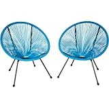 TecTake 800729 2er Set Acapulco Garten Stuhl, Lounge Sessel im Retro Design, Indoor und Outdoor, pflegeleicht, Relaxsessel zum gemütlichen Sitzen - Diverse Farben - (Blau | Nr. 403306)