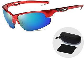 FRGTHYJ - FRGTHYJ Gafas de Sol Gafas de Sol Deportivas ultraligeras para Exteriores Gafas de Sol polarizadas clásicas para Hombre Gafas de conducción UV400 Gafas con Estuche con Cremallera Gafas Rojas y Verdes