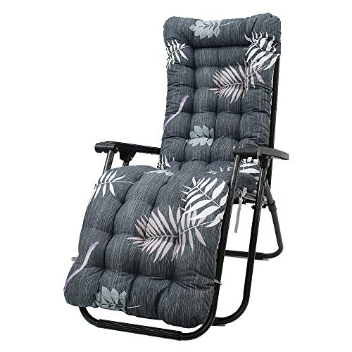 Sun Lounger Cushion Pad Replacement Garden Sun Lounger Chair Pad Sunbed Cushion Cover Thick Recliner Chair Lounge Relaxer Non-Slip Cotton Sofa Outdoor High Back Chair Seat Pad (NO Chair) (A)