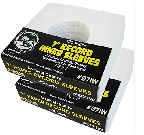 """(200) Archival Quality Acid-Free Heavyweight Paper Inner Sleeves for 7"""" Vinyl Records #07IW"""