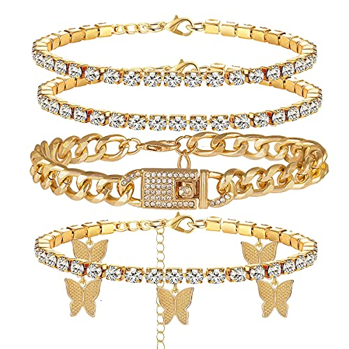 yfstyle 4PCS Cuban Link Ankle Bracelet Cuban Chain Anklet Butterfly Anklet Set Cuban Link Rhinestone Tennis Anklet Set for Women Summer Beach Adjustable Layered Rhinestone Anklets-gold cuban