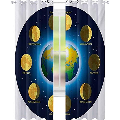 YUAZHOQI Educational Window Curtain Drape Circular Frame Showing Basic Phases of Moon Calendar Cosmos Universe 52' x 95' Curtains for French Doors Blue Indigo Mustard