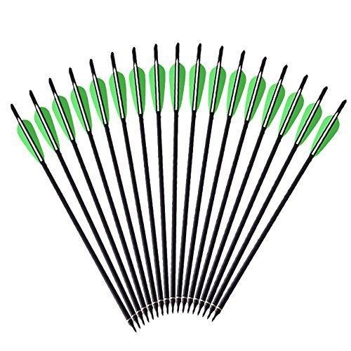VERY100 12 x Armbrustpfeile 16 Zoll 20 Zoll Armbrustbolzen Bolzen für Armbrust grün (16 Zoll)