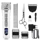 GHB Hundeschermaschine Schermaschine Katze Hunde Haarschneidemaschine mit LED-Bildschirm 9in1...