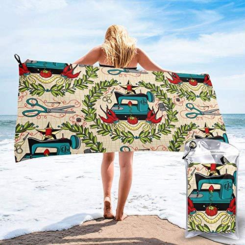 Unique Life Toalla de baño de patrón de costura, toalla de gimnasio, toalla de playa, microfibra suave de secado rápido, ligero
