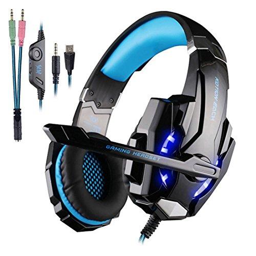 Rixow Gaming Headset PS4, G9000 Pro Gaming Kopfhörer mit Mikrofon 3.5mm On-Ear Surround Sound Ohrhörer und Einstellbare Bass-Stereo Lautstärkeregelung für Playstation 4 Xbox One Tablet PC Smartphone.