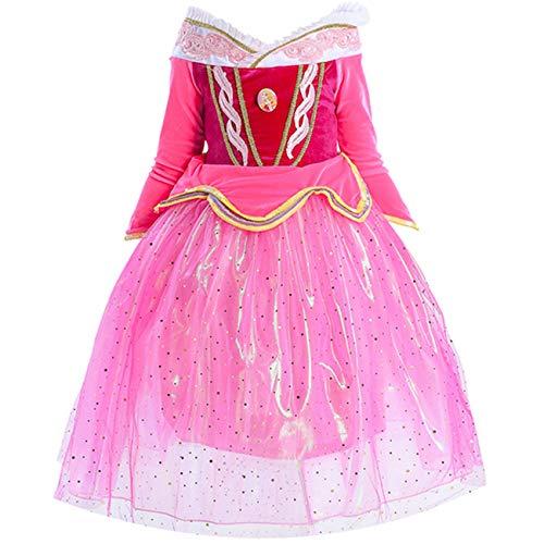 O.AMBW niña Princesa Vestido Bella Durmiente Aurora Princesa Cosplay Disfraz Rosa Tul Vestido de Manga Larga Fiesta de cumpleaños de Halloween Vestido Corona Varita aretes Anillo de la máscara