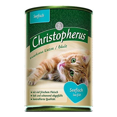 Christopherus Alleinfutter für Katzen, Nassfutter, Erwachsene Katze, Seefisch, 6 x 400 g Dose