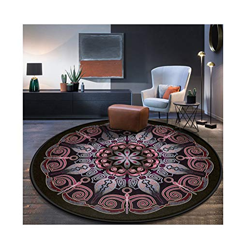 Siunwdiy Vintage Verzierten Runde Teppich Nordic Folk Style Wohnzimmer Schlafzimmer Studie Hängen Korb Computer Stuhl Verdickung Teppich Verschiedene Größen,C,Diamètre160cm