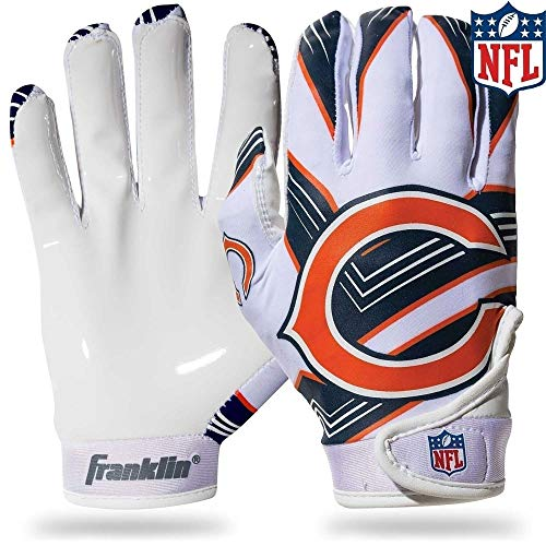 Franklin Sports Chicago Bears Youth NFL Football Receiver Gloves - Receiver Gloves for Kids - NFL Team Logos and Silicone Palm - Youth S/XS Pair