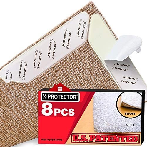 Rug Grippers X-PROTECTOR - NEW 8 pcs Anti Curling Rug Gripper - Rug Pad - Keeps Your Rug in Place & Corners Flat - Carpet Gripper Renewable Gripper Tape - Rug Tape. ORIGINAL BRAND - AVOID THE COPIES!