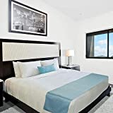 Juvale Blue Bed Runner for Full and Queen Size Bed (84 x 20...