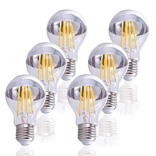 LED Glühbirne Für E27 Fassung, Leuchtmittel mit Chrom-Spiegelkopf, Dimmbar, Farbe:Spiegelkopf 6er Set