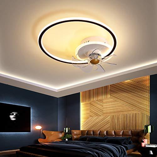 Φ45cm Dormitorio Ventilador Techo con LED Luz Y Mando, 3 Velocidades con Temporizador Regulable Lamparas Ventilador De Techo 43W Moderno Sala Silencioso Lamparas Ventilador De Techo,Negro
