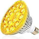 MILYN Bombilla LED de 54 W para plantas de interior, lámpara de planta de espectro completo E27 para floración y floración hidropónica, plantas de invernadero, plantas suculentas, iluminación amarilla