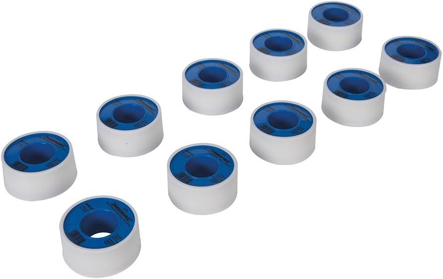 Silverline 905866 Cinta PTFE para sellar roscas, Blanco, Set de 10 Piezas